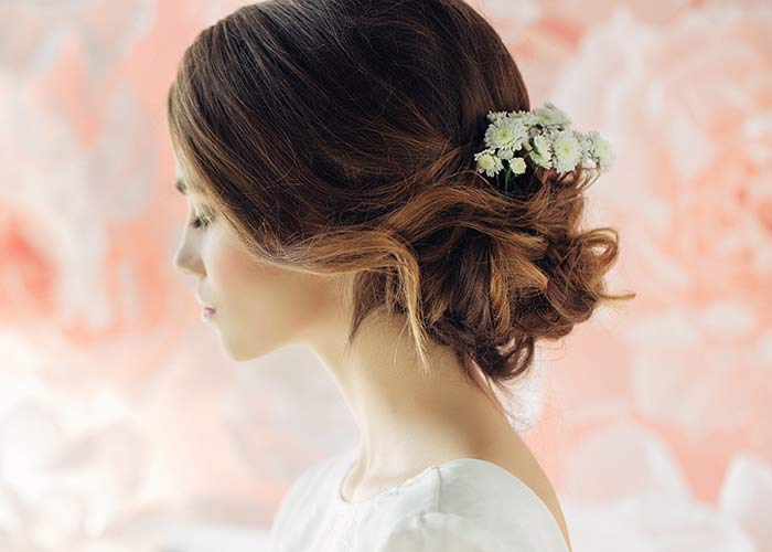 Bridal Middle Bun with a Backcombed